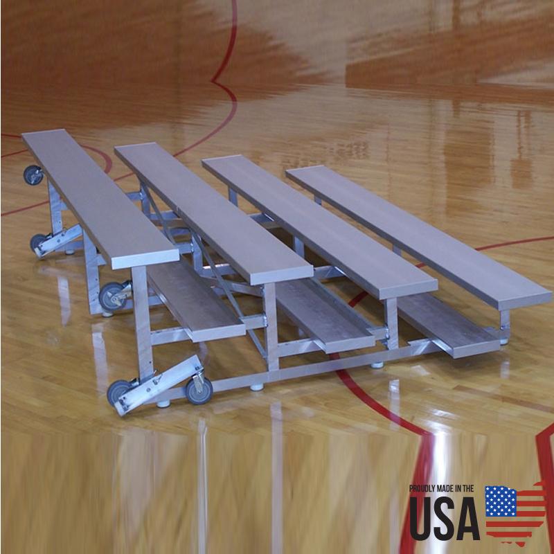SportLite Tip & Roll Low Rise Aluminum Bleachers - 4 Rows, 15 ft