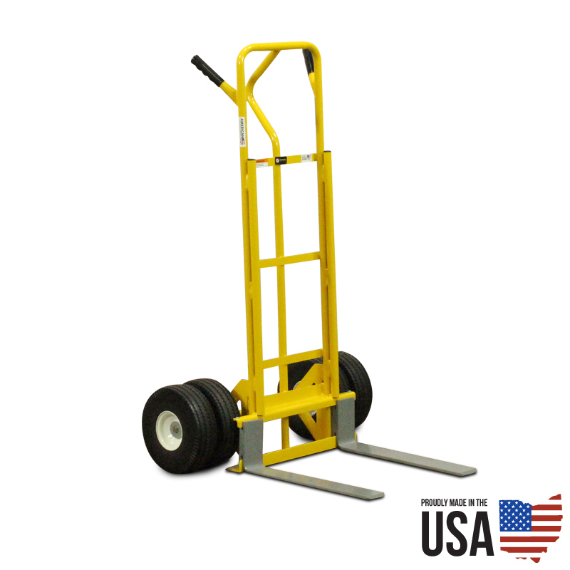 Hand truck with 20 adjustable forks dual wheels for Motorized hand truck dolly