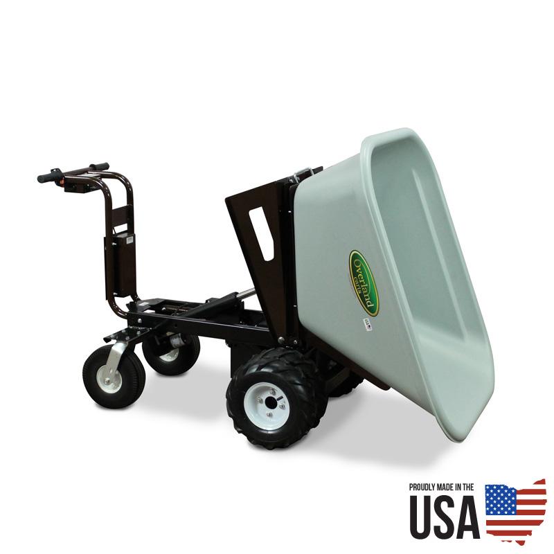Overland electric powered 10 cu ft wheelbarrow with power dump for Motorized wheelbarrows for sale